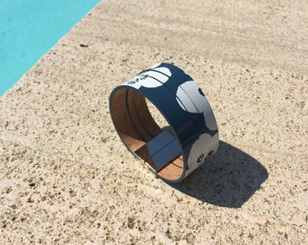 Blue Mariette patent leather cuff solid brass clasp palladium plated