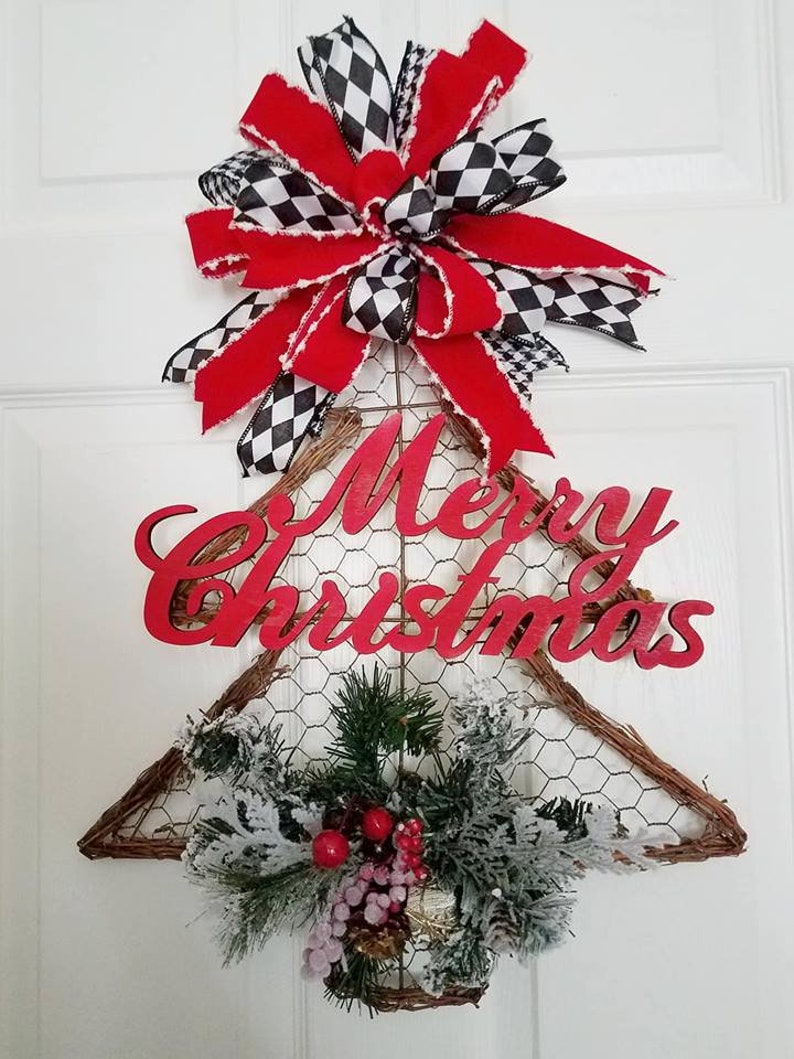 Christmas Tree Wreath With Pine And Spruce Chicken Wire Etsy