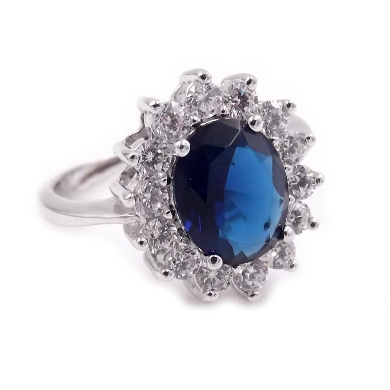 adjustable size Kate style engagement ring silver 925 blue sapphire