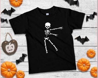 62ecbea0434 flossing skeleton kids tee