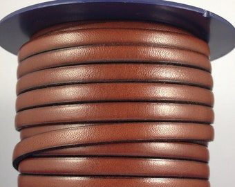 6mmx2mm Flat Light Brown Leather Cord,Select Length,Wholesale Jewelry Supplies,Distressed Matte Finish,LC6-201