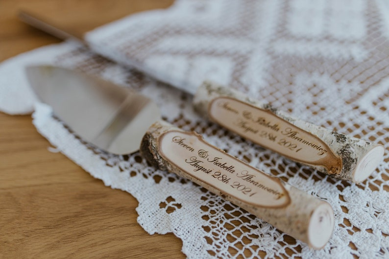 Rustic Country Chic Wedding Knife Set Natural Birch Branch image 1