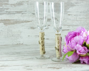 Rustic Wedding Glasses Champagne Flutes Burlap Glasses Rustic Toasting Glasses Birch Mr & Mrs Glasses