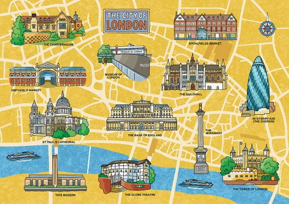 Map Around London.City Of London Map Yellow Signed Limited Edition Print Decorative Map With Popular Landmarks Around The Financial District