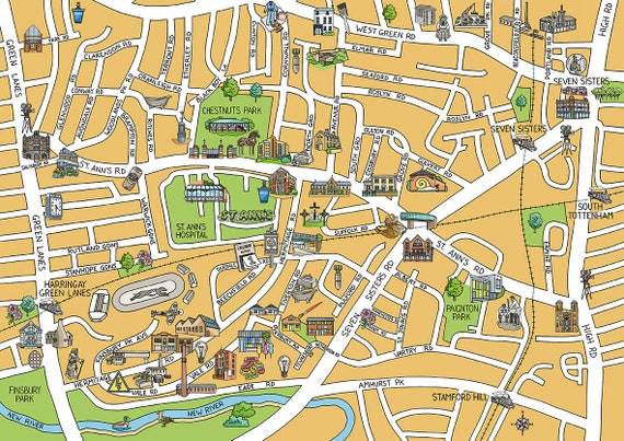 Map North London.South Tottenmam London Map Illustration Giclee Print Of Handmade Drawing Available In 3 Sizes For Lovers Of Maps And Cities