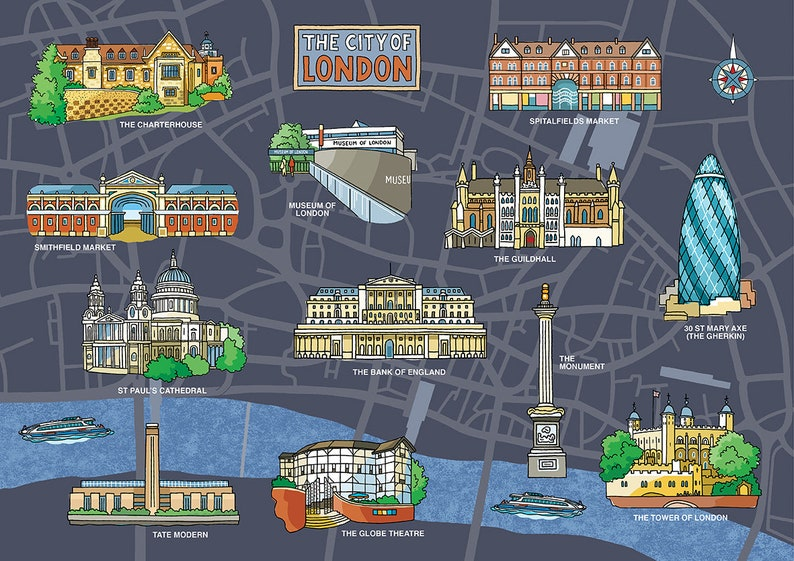 Map Of The City Of London.City Of London Map Dark Blue Signed Limited Edition Print Decorative Map With Popular Landmarks Around The Financial District