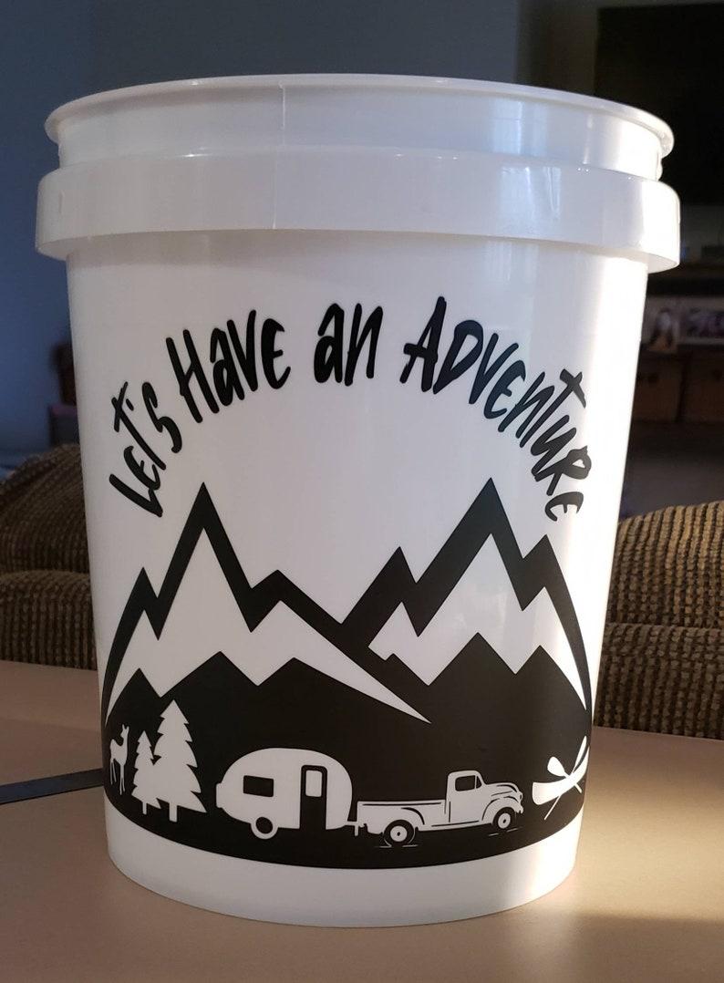DECAL fits 5 gallon bucket  CAMPING  Adventure  RVing  Summer  Fun  Party Lights  Outdoor Lighting  Wanderlust  Fishing Trailer