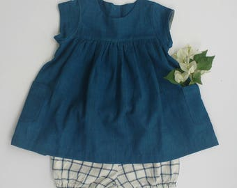 Natural indigo khadi baby dress, khadi bloomers, handloom, cotton, eco-friendly, non-toxic,sustainable