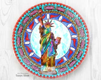 Statue of Liberty Decorative plate hand painted Independence Day USA America American pride New York statue Lady liberty 4th of july Gift