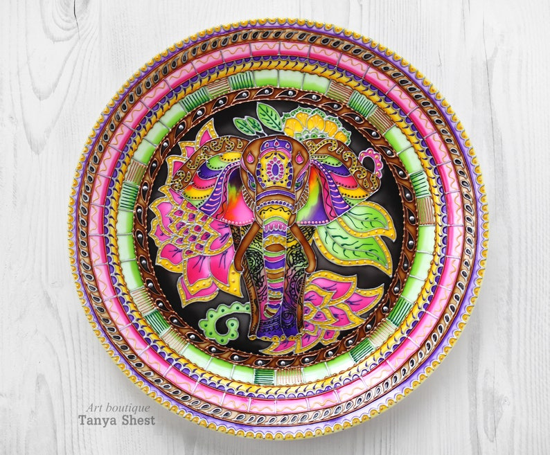 Decorative Plate Indian Elephant Hand Painted Wall Etsy