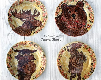 Home decor Rustic style Cottage style - Russian bogatyr Bear Elk. Set of 4 decorative plates Gardarika - in Russian style Wall hangings & Russian plates | Etsy