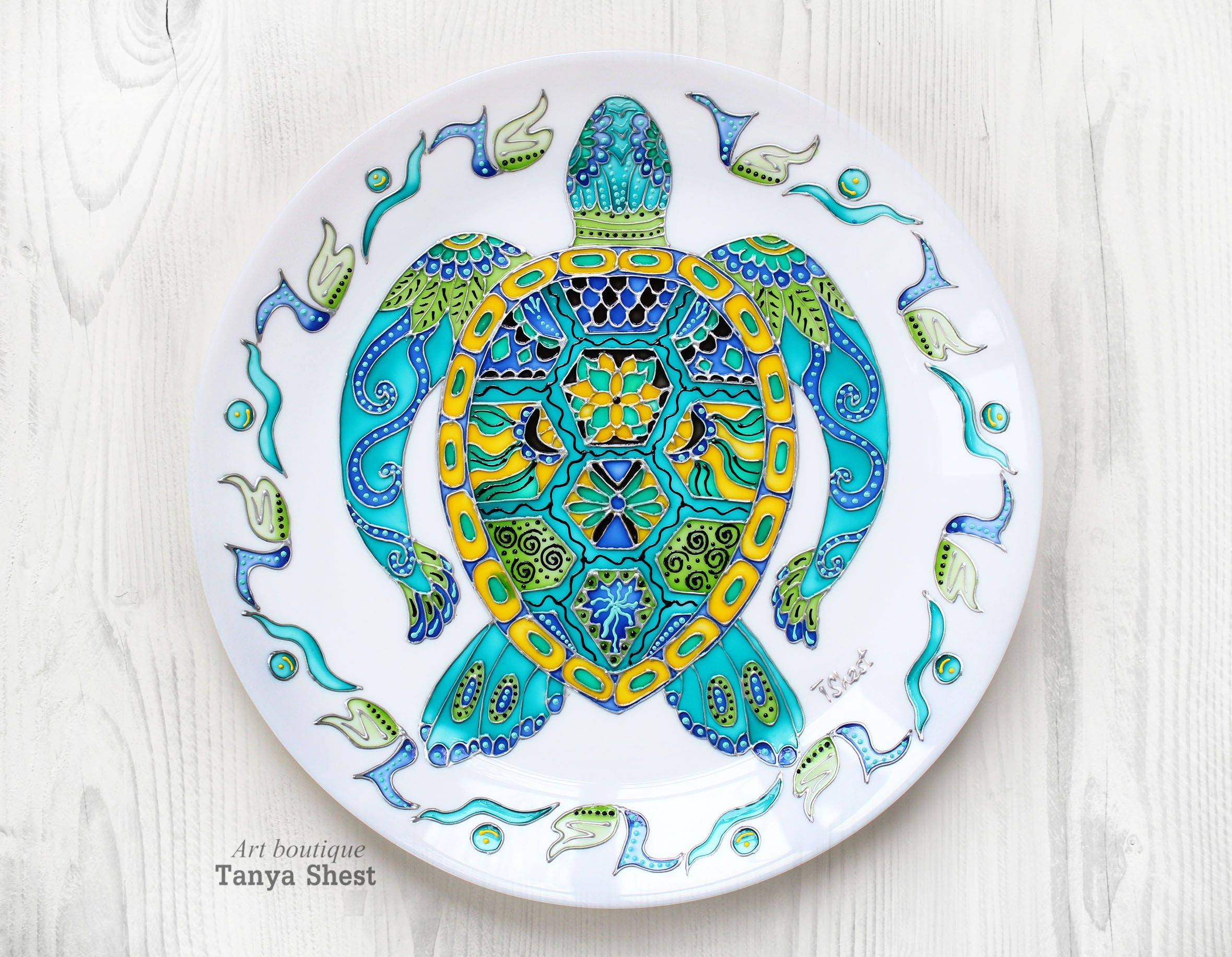 Decorative plate Turtle Turquoise plate Wall | Etsy