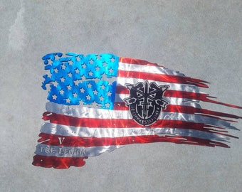 4 foot Large Metal Tattered American Flag.  Customized for you.