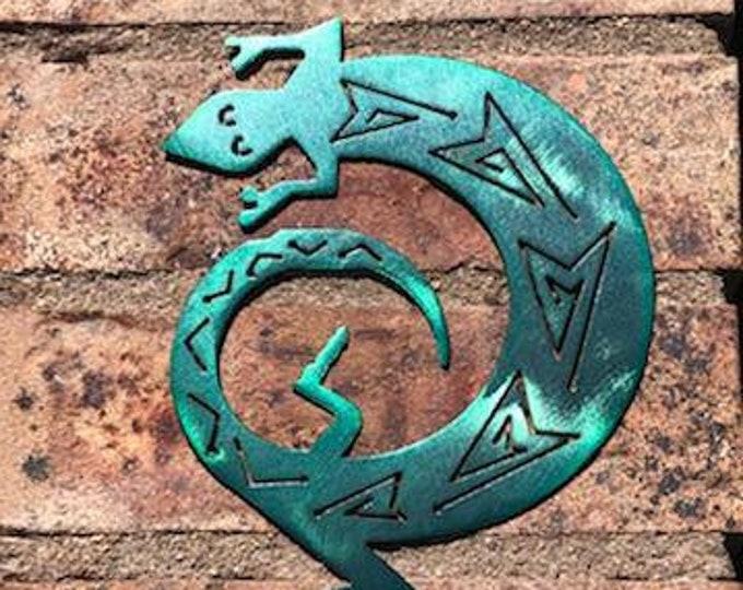 Green Lizard Wall hanging metal art.