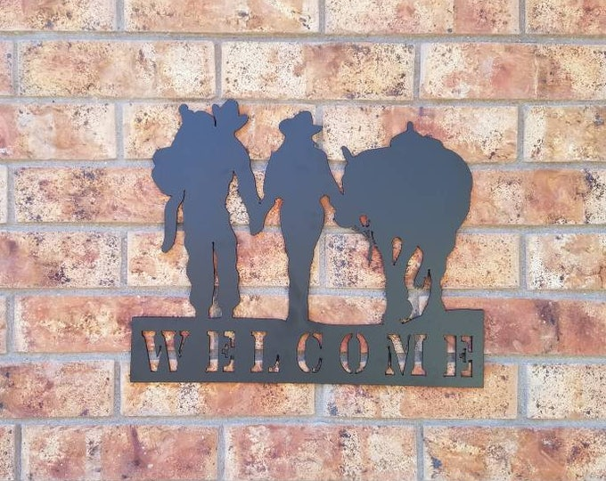 Welcome Cowboy and Cowgirl Couple Metal Wall Art Kitchen Decor; Western Metal Art Wall Hanging.  Stocking stuffer