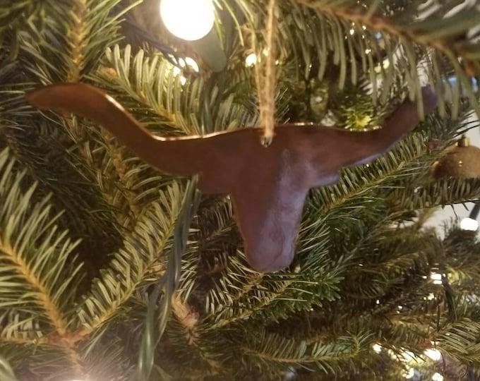 Steer Head Christmas Ornament Christmas Decor.  Christmas Tree Decor.  Stocking Stuffer  Cowboy Christmas