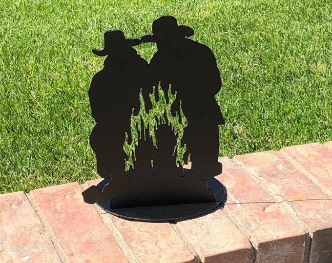 Cowboy Campfire Candle Stand Wall hanging art.