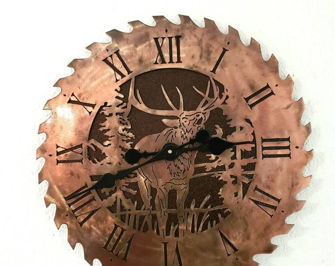 Clock;  Western Metal Wall Art hanging