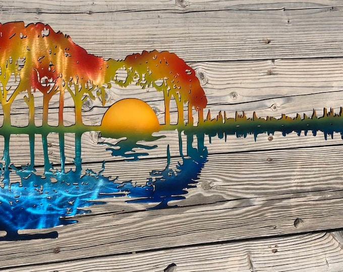 Guitar Metal Art.  Guitar painted as a beach scene.