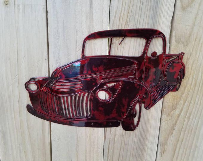 Red 46 Chevy Pickup Farm Truck Metal  Wall Hanging