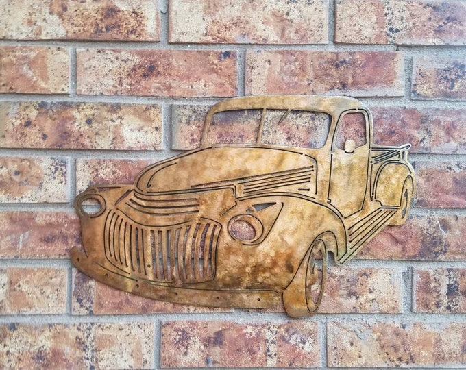 46 Chevy Farm Pickup Truck Wall Hanging.  Metal truck.  Rusty pickup.  Automotive Hot Rod.  Route 66.  Old truck.  Antique Pickup