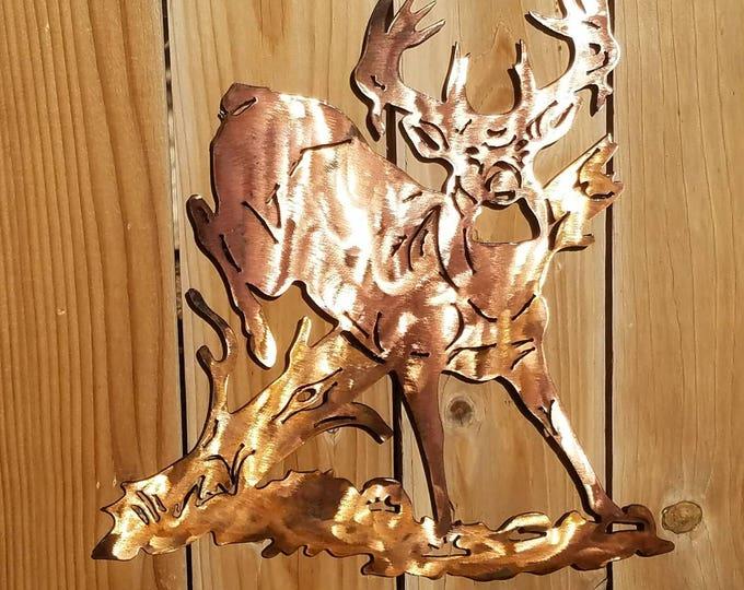 Buck Deer Jumping Over Log Metal Art;  Copper Deer White-tail; Deer;  Deer Hunting; Buck Wall Hanging