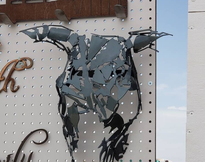 Cow Skull sculpture Steer, Bull, Metal.  Sugar cow skull metal wall hanging.  Western kitchen Art.
