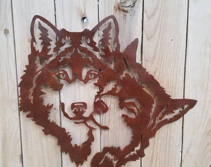 Two Wolves Bonding Metal Art.  Wolves Embrace.  Rust Colored Wolves Cuddling.  Plasma Art Wolf,  Steel Cut Wolf.  Huskie Wall Hanging.