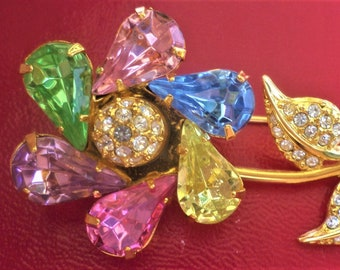Vintage Estate Joan Rivers Colorful Crystal Spinning Flower Pin Brooch Mint New
