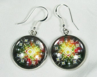 Baltic sign cabochon earrings, Sign of wealth
