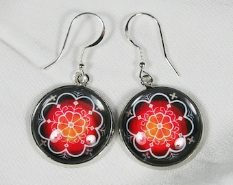 Baltic sign cabochon earrings, Solar sign