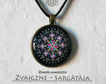 Baltic sign cabochon amulet, Star - Guardian