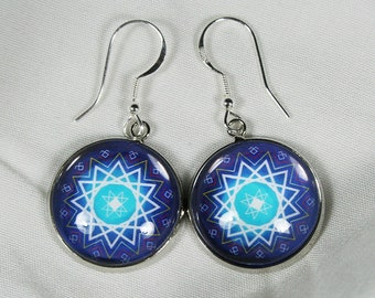 Baltic sign cabochon earrings, Star of Laima