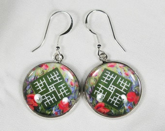 Baltic sign cabochon earrings, May all succeed