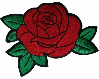 Iron on Leaves Red Rose Applique Patch Flower Bud 2-58