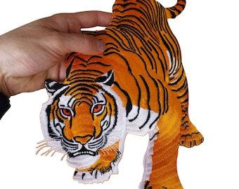 2b505554978c4 Large Iron On Sew On Tiger Patch Biker Motorcycle Motorbike Jacket T Shirt  Badge