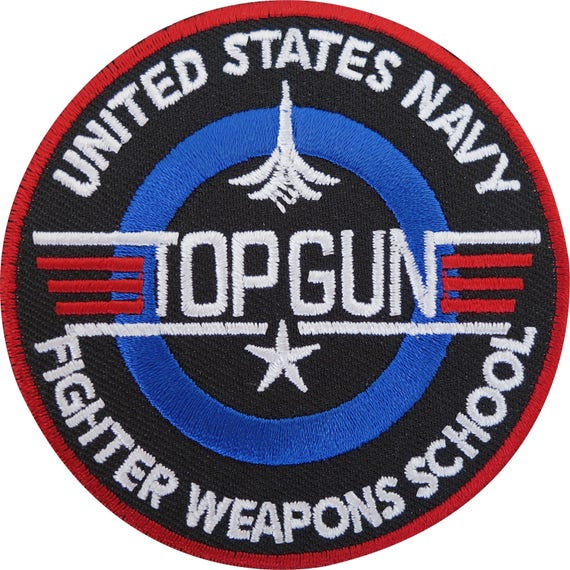 US NAVY AIR FORCE TOP GUN LOGO Embroidered Iron on Patch Free Shipping