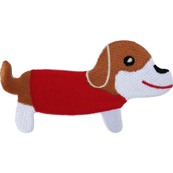 MERRY CHRISTMAS DACHSHUND Cute Embroidered Patch Iron-On Sew-On Motif Applique