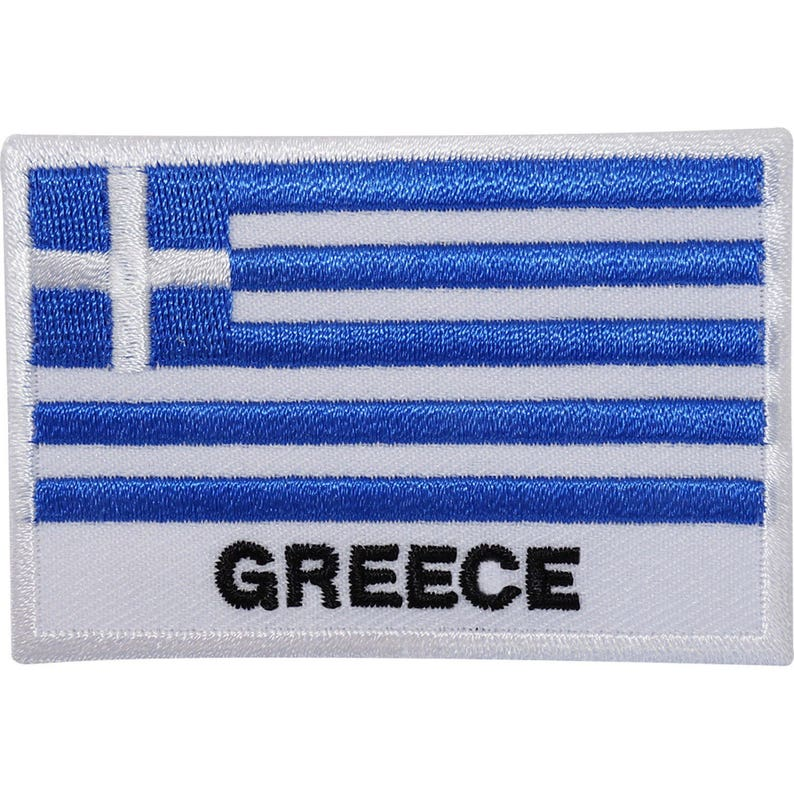 13f232a79d57 Greece Flag Embroidered Iron / Sew On Patch Greek Clothes Jeans Embroidery  Badge