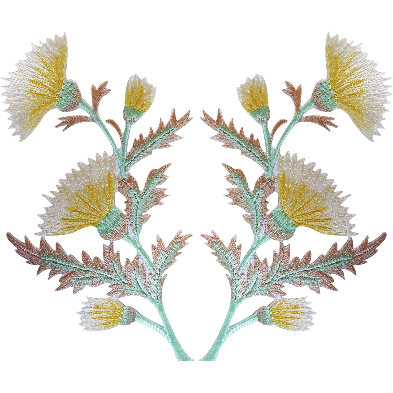 Pair of yellow thistle flower patches iron sew on jacket bag etsy zoom mightylinksfo