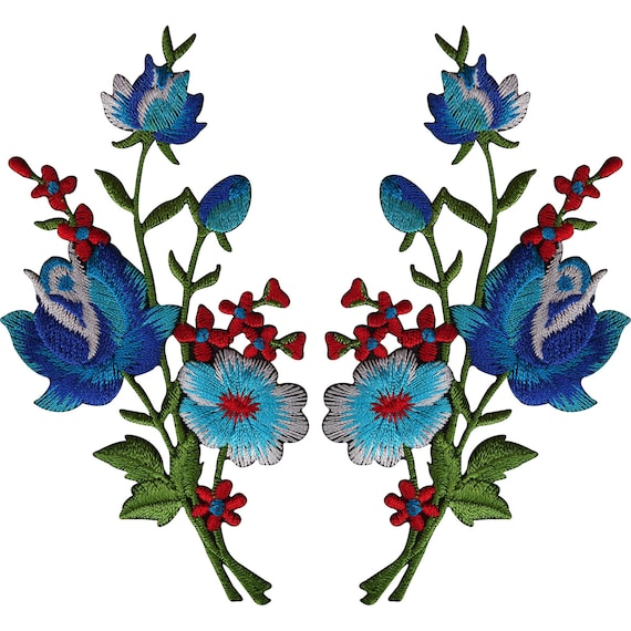 Pair of Red Roses Patches Iron On Sew On Embroidered Rose Flower Patch Badge