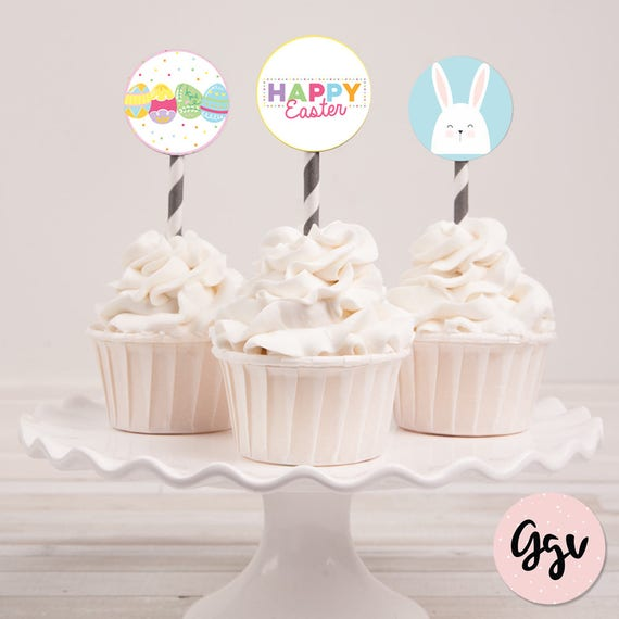 image relating to Printable Easter Decorations known as EASTER CUPCAKE TOPPERS, easter celebration, easter decorations, easter printable, easter bunny, easter cupcake, bunny cupcake topper, easter