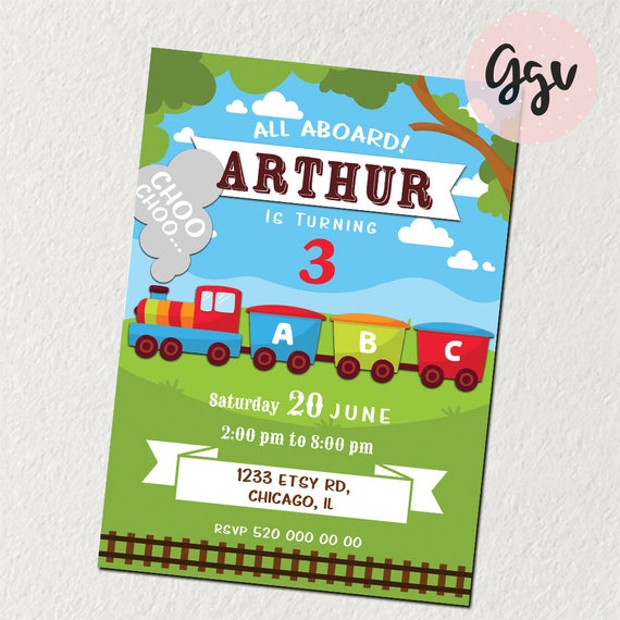 Zug Einladung Zug Geburtstag Zug Party Druckbare Zug Zug Etsy