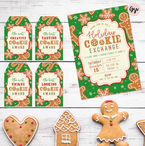 Christmas Cookie Exchange.Printable Christmas Cookie Exchange Invitation Cookie Swap Invite Holiday Cookie Party Cookie Exchange Kit Cookie Exchange Party Package