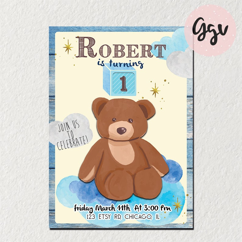 1st Birthday Invitation First Birthday Teddy Bear Teddy Etsy