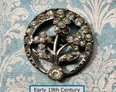 CHOICE of ONE Early 19th or Late 18th Century Paste Jeweled NBS Small Button Silver Toned Metal Floral Design