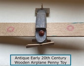 Unique and Hard to Find Early 20th Century Antique Penny Toy Wooden Airplane, Putz Scene