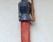 Antique Early 20th Century Larger Sized Penny Toy, Putz, Wooden Soldier or Policeman with Gun