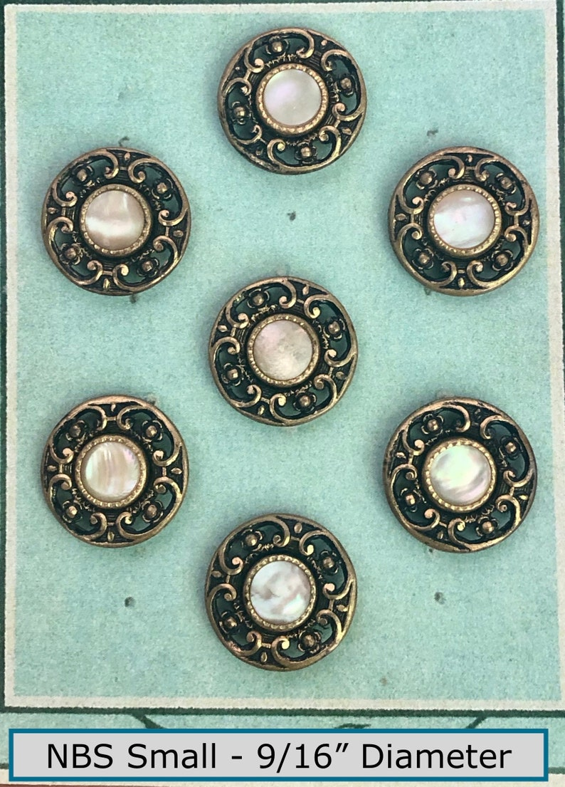 Facsimile Card of 7 Antique 19th Century Pierced Gold-toned Metal wPretty Pearl Center