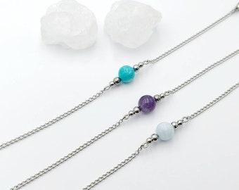 meditation gemstones chakra stretch anklet crystals calming yoga anklet wedding beach wedding Lavender Aquamarine Anklet gift